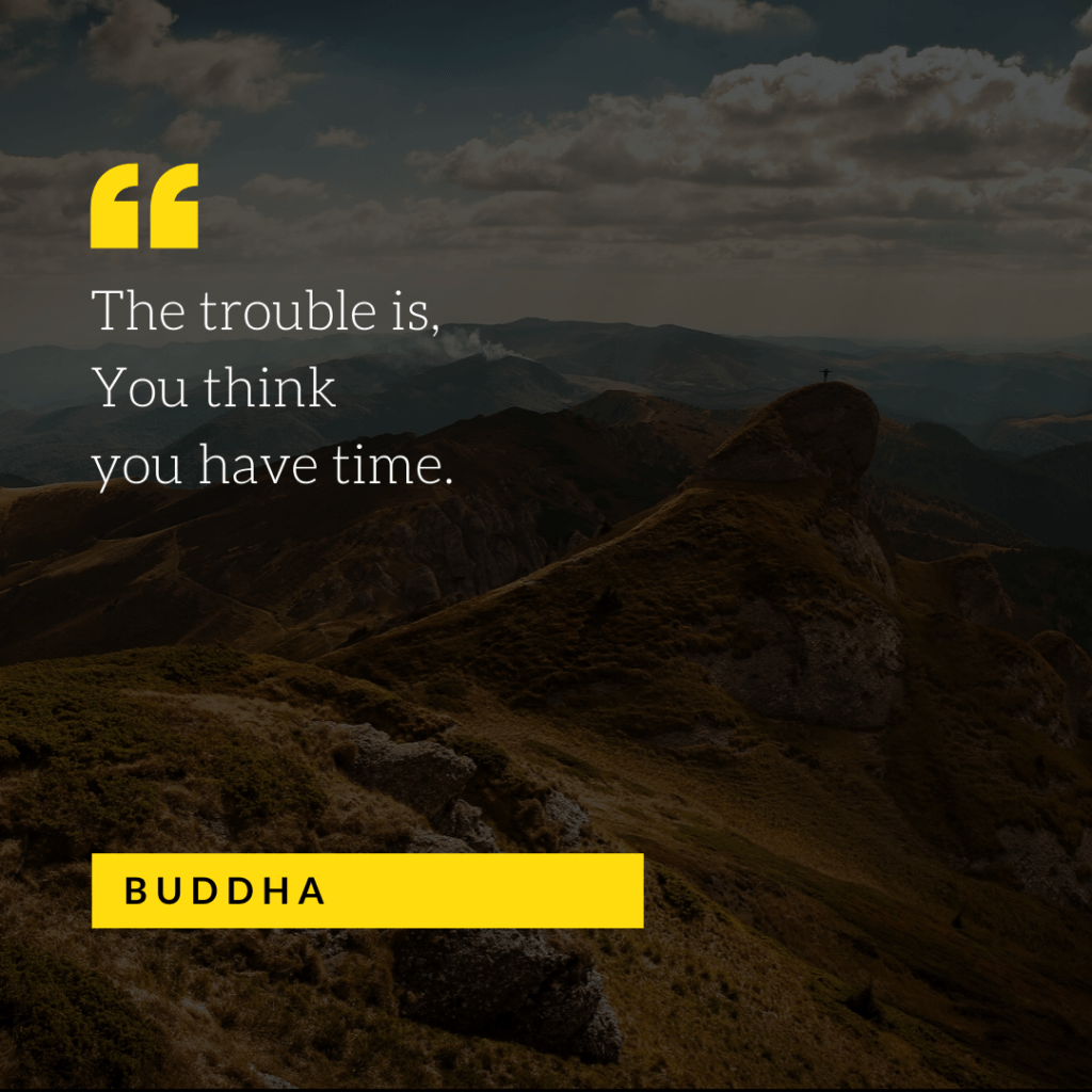 The trouble is, You think you have time - Buddha.