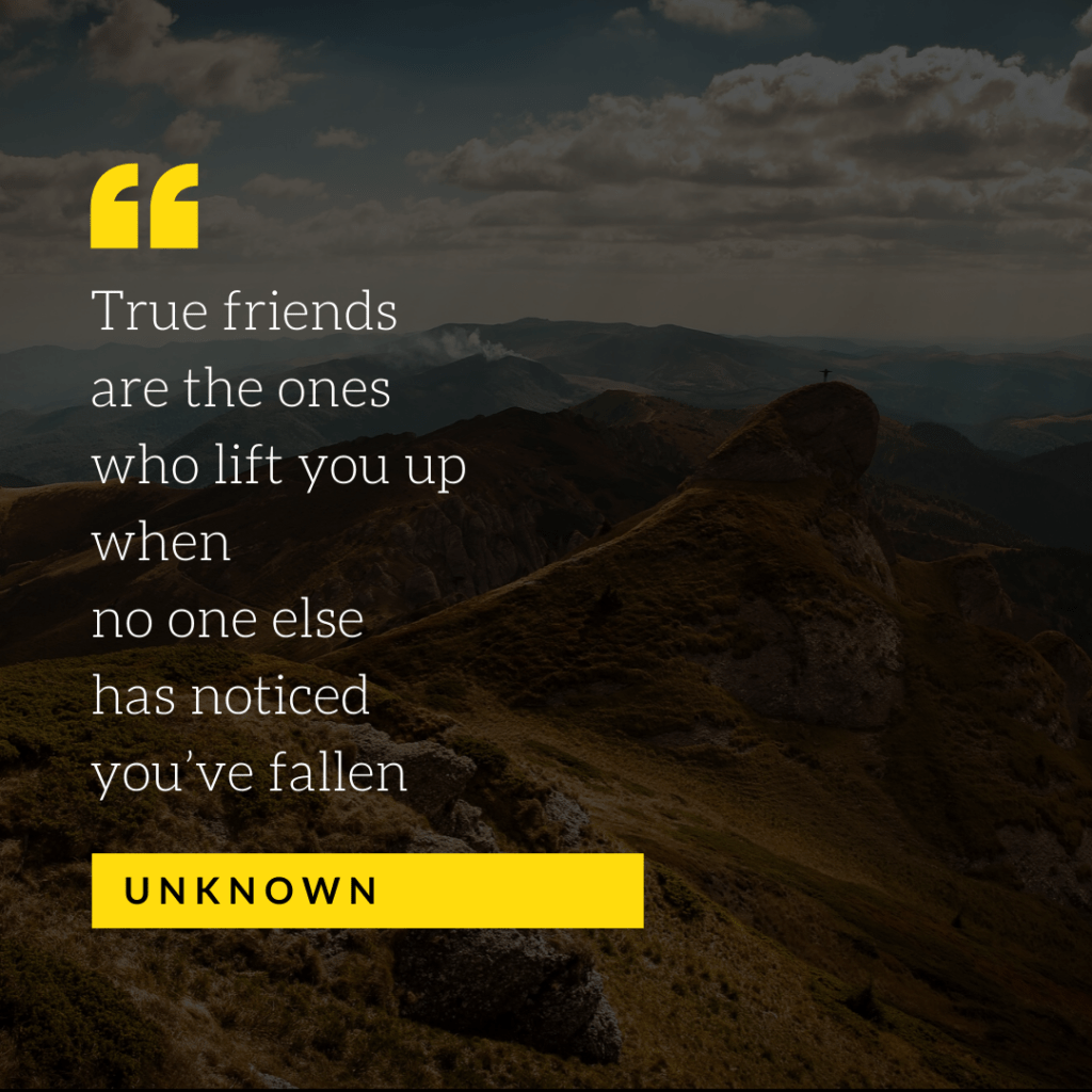 True friends are the ones who lift you up when no one else has noticed you've fallen - Unknown