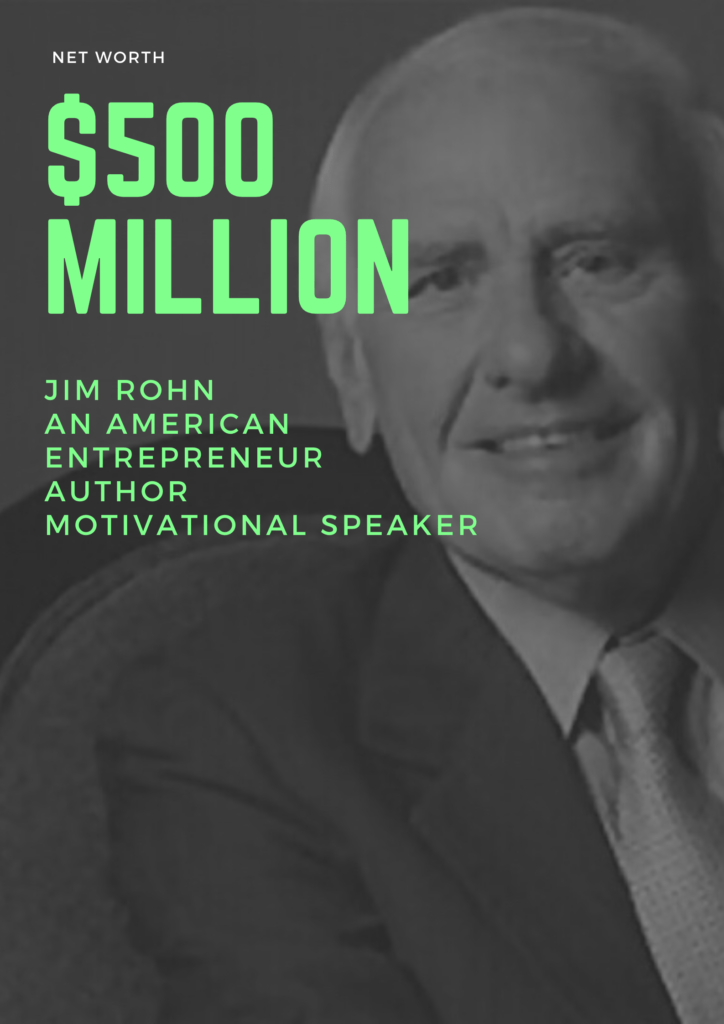 $500 million - Net Worth of Jim Rohn an american entrepreneur author and motivational speaker