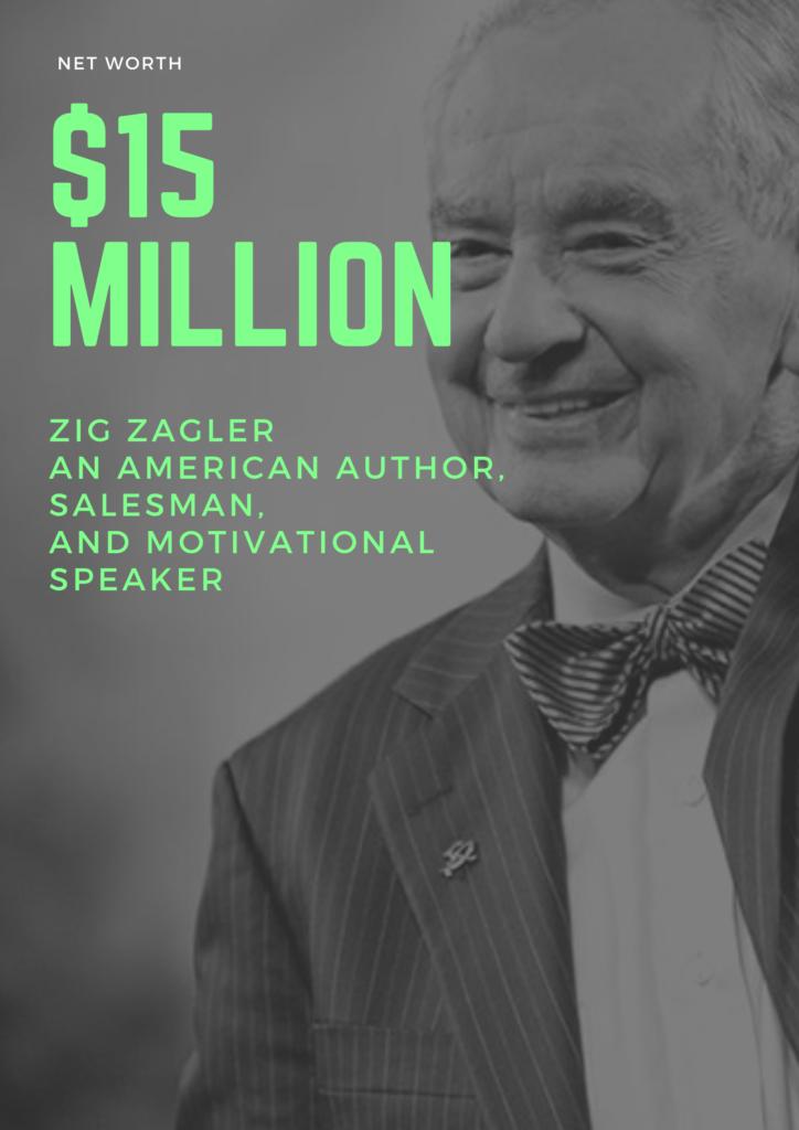 $15 Million - Net worth of zig zagler an american author, Salesman